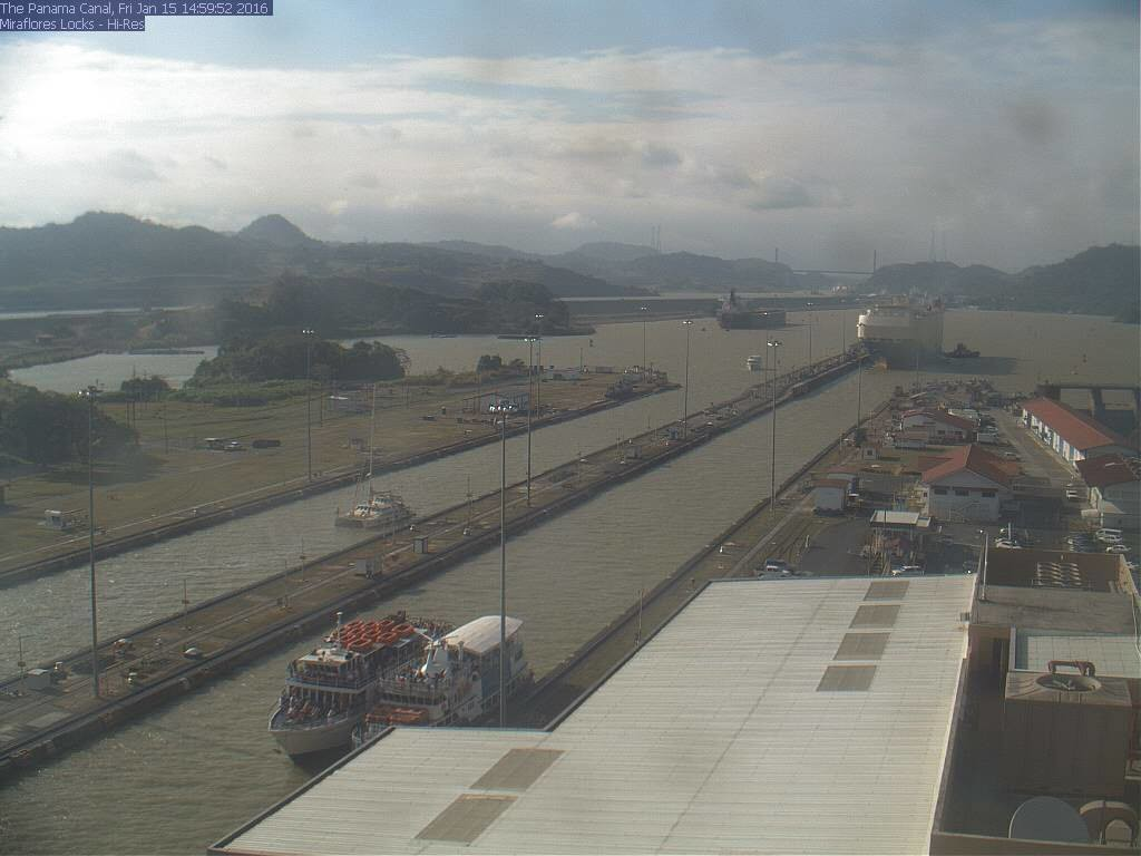 SV Amarula in the Miraflores locks (webcam screenshot courtesy of Nicole, Eric's daughter watching from Australia!)