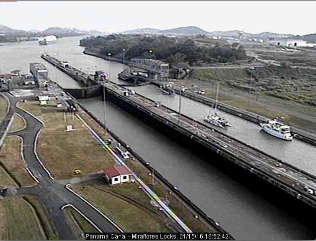 SV Amarula in the Miraflores locks (webcam screenshot courtesy of Stephany on SV Endless Pleasure in the Caribbean!)