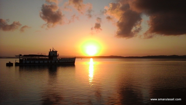 Sunrise on Gatun Lake. Guess who was anchored nearby? Yes, it was our Miraflores lock buddy Islamorada!
