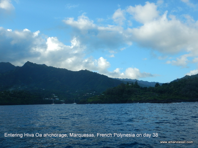 Entering Hiva Oa anchorage, Marquesas, French Polynesia on day 38